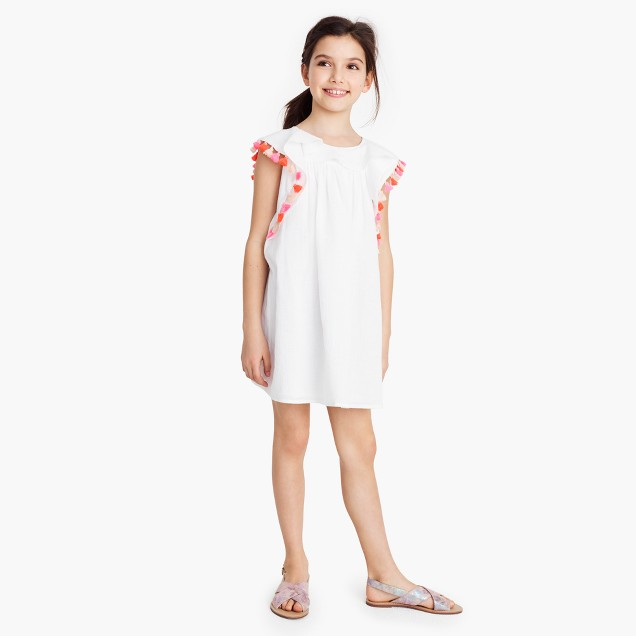 Girls' tassel gauze dress