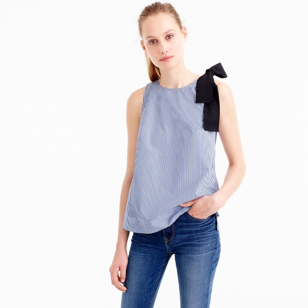 Bow-shoulder top in stripe