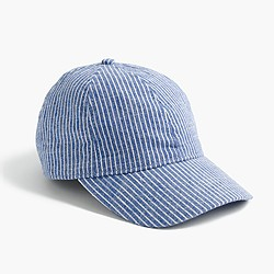 Striped cotton baseball cap
