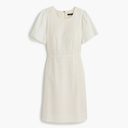 Flutter-sleeve dress in eyelet
