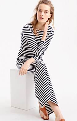 Long-sleeve striped maxi dress