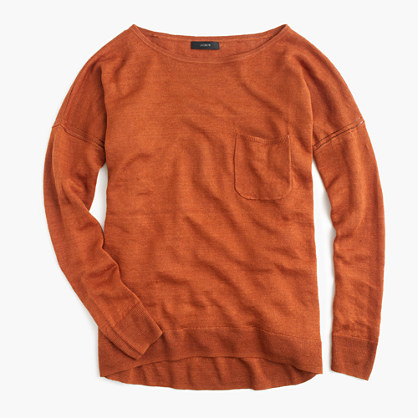 Yarn-dyed linen pocket crewneck sweater