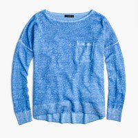 Cool-dyed linen pocket crewneck sweater