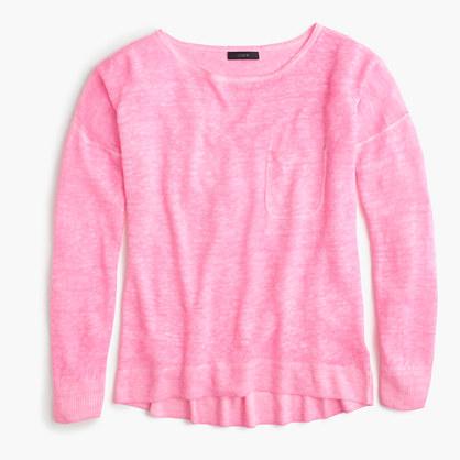 Cool-dyed linen pocket crewneck sweater
