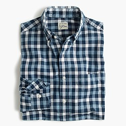 Secret Wash shirt in checked heather poplin
