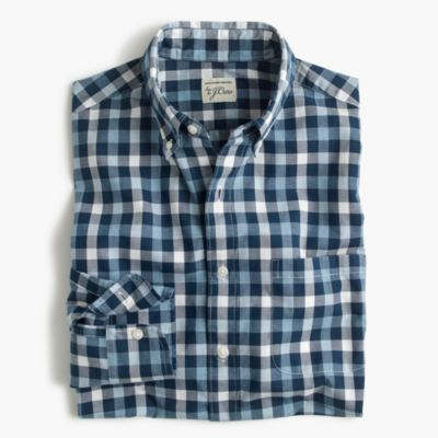 Slim heather poplin shirt in blue check