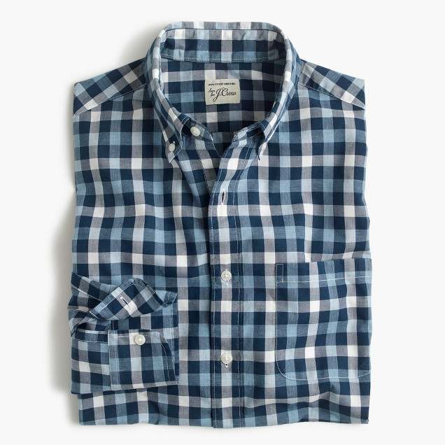 Tall Secret Wash shirt in checked heather poplin