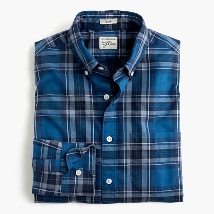 Secret Wash shirt in heather classic blue tartan