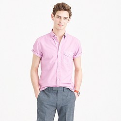 Short-sleeve garment-dyed lightweight oxford shirt