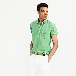 Short-sleeve garment-dyed lightweight oxford shirt