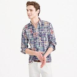 Slim Indian madras shirt in patchwork
