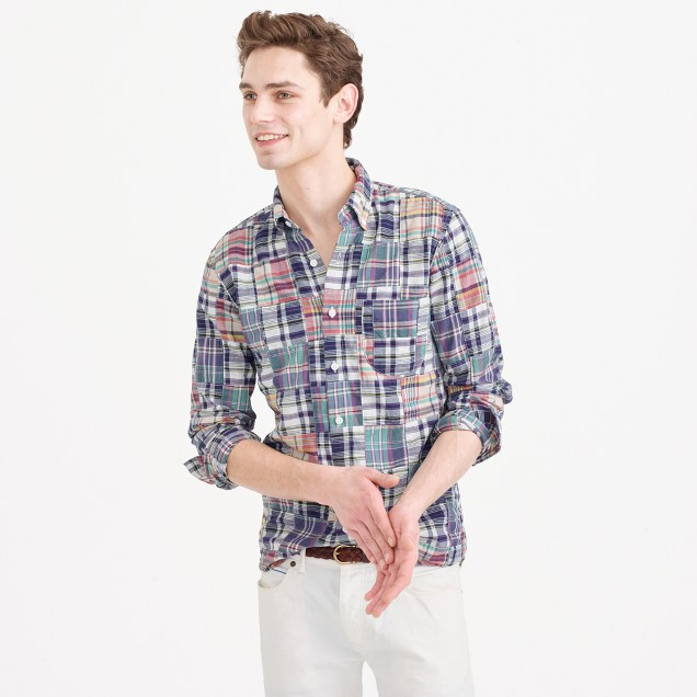 Slim indian madras shirt in patchwork men lightweight for J crew mens outfits