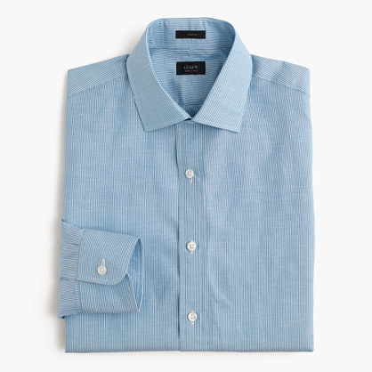 Crosby Irish cotton-linen shirt in blue stripe