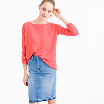 Garment-dyed linen cable crewneck sweater