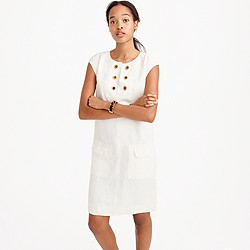 Linen shift dress with grommets