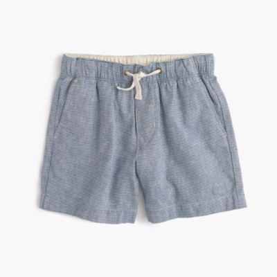 Boys' dock short in linen-cotton stripe