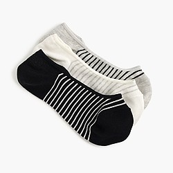 Striped and spotted no-show socks three-pack