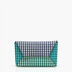 Envelope clutch in gingham patchwork