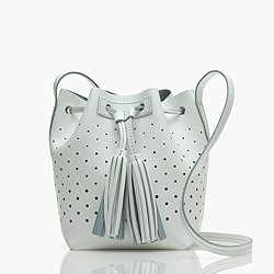 Mini bucket bag in perforated leather