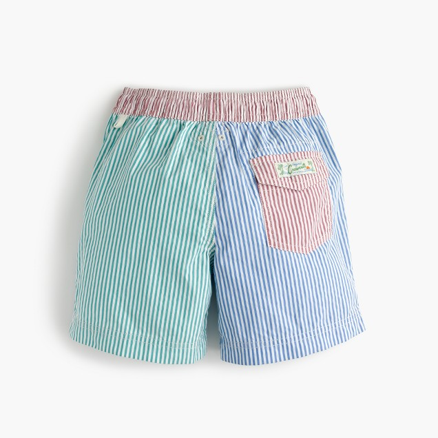 Boys' swim trunk in colorblocked seersucker
