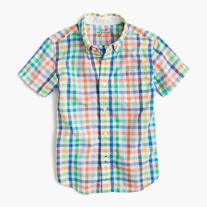 Kids' short-sleeve Secret Wash shirt in multicolor gingham