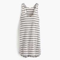 Linen-cotton racerback tunic in stripe