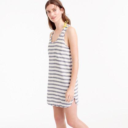 Linen-cotton racerback tunic in stripe