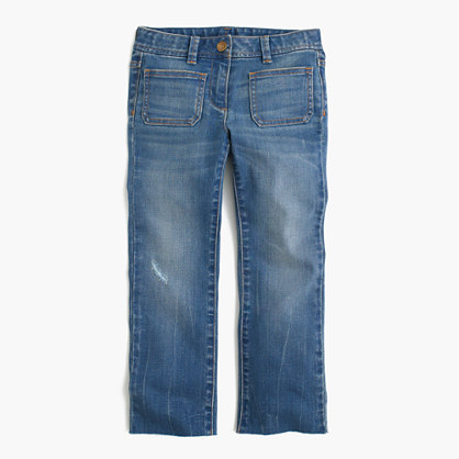 Girls' cropped kickout jean