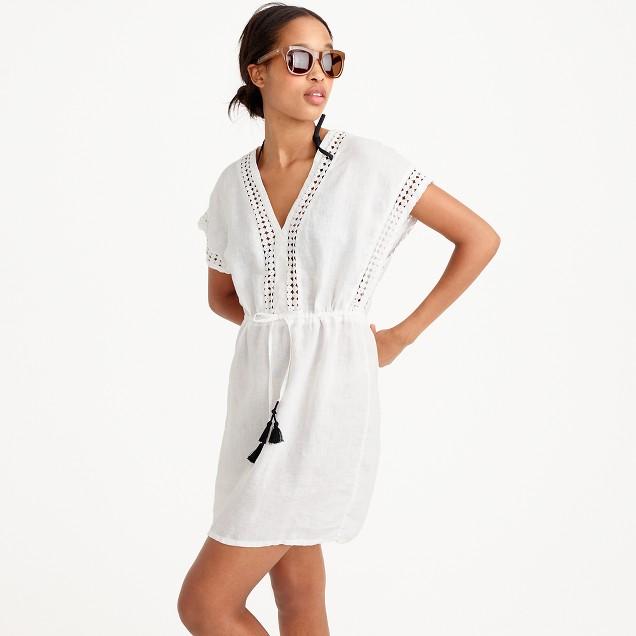Linen-cotton tassel tunic
