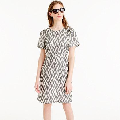 Petite flutter-sleeve dress in ikat