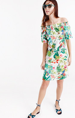 Off-the-shoulder dress in Ratti® Into the Wild print