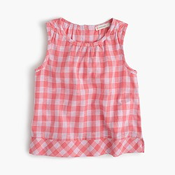 Girls' gingham button-back top
