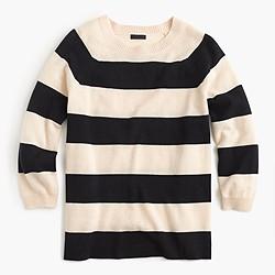 Collection cashmere striped boyfriend crewneck sweater