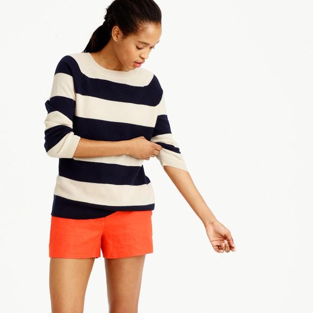 Italian cashmere striped boyfriend crewneck sweater