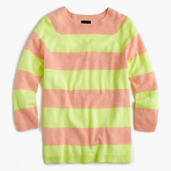 Italian cashmere striped boyfriend crewneck sweater