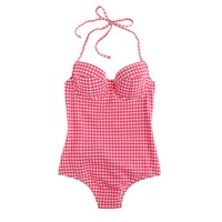D-cup underwire halter one-piece swimsuit in gingham seersucker