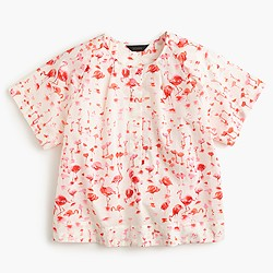 Short-sleeve top in flamingo print