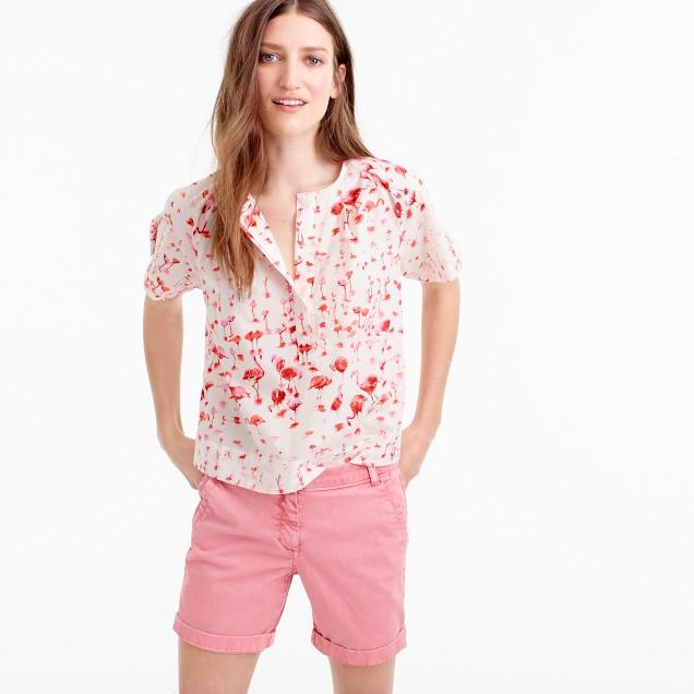 Short-sleeve top in flamingo print