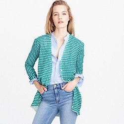 Collection gingham cardigan sweater in gauzy cotton