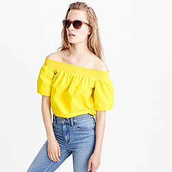 Petite cotton off-the-shoulder top