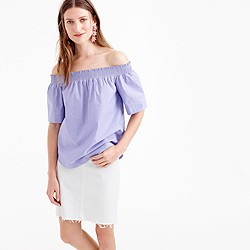 Petite cotton off-the-shoulder top in stripe