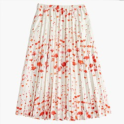 Pleated midi skirt in flamingo print