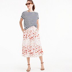 Pleated midi skirt in flamingo print