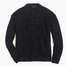 Linen lace-up beach sweater - BLACK