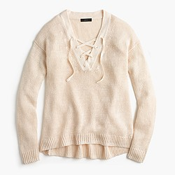 Linen lace-up beach sweater