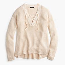 Linen lace-up beach sweater - ECRU