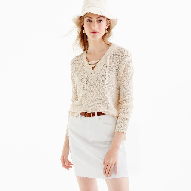 Linen lace-up beach sweater
