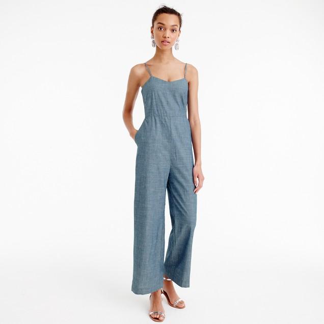 Petite chambray jumpsuit