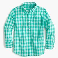 Kids' Secret Wash shirt in green gingham
