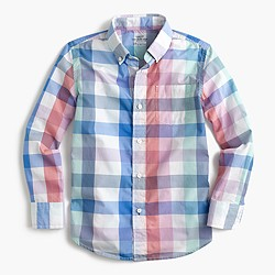 Kids' Secret Wash shirt in faded multicheck